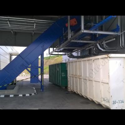 Fémhulladék kihordó szállítópálya rendszer konténer töltése