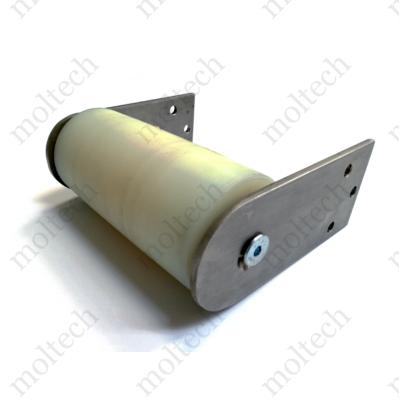 Fordítódob rozsdamentes konzollal, D080 mm PA6 palásttal; 165 mm palásthossz